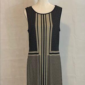 Max Studio Size L Sleeveless Black & Cream Dress